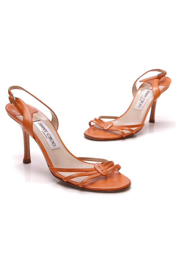 Jimmy Choo Strappy Heeled Sandals Orange Size 37