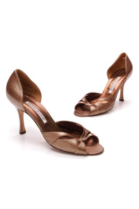 Manolo Blahnik Metallic Pumps Bronze Size 37.5