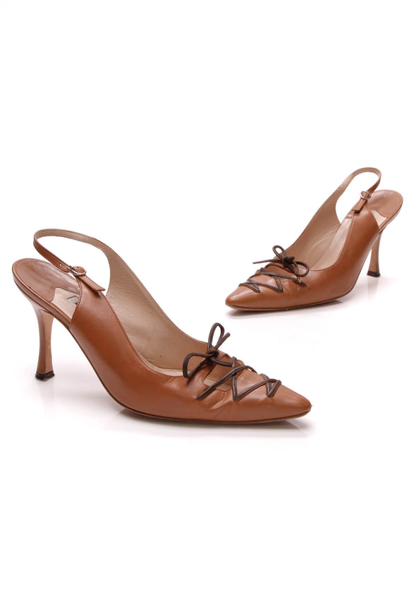 Manolo Blahnik Lace-Up Slingback Pumps Brown Size 37