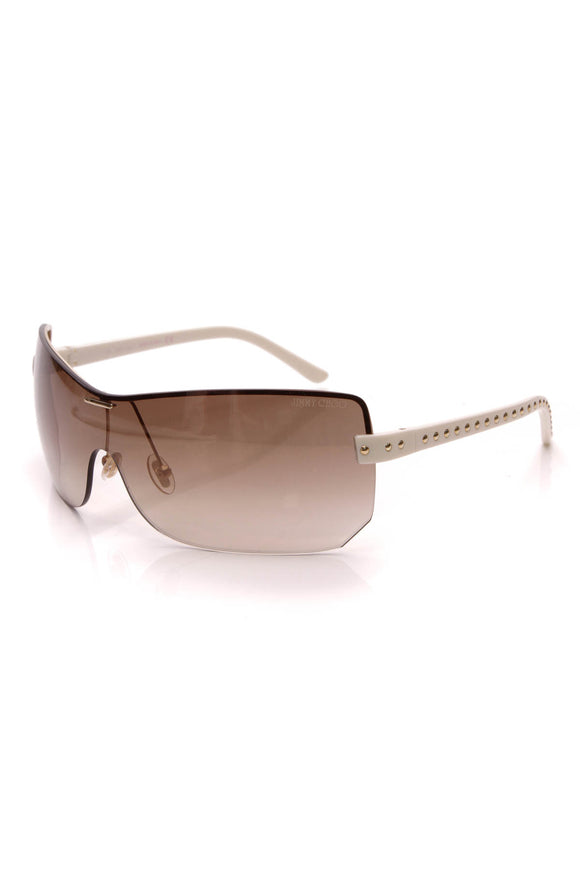 Jimmy Choo Phoenix Studded Shield Sunglasses White