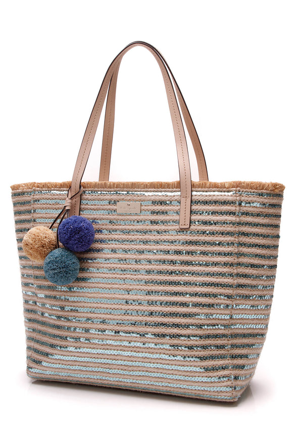 Kate Spade Garden Way Hallie Tote Bag Straw Blue