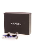 Chanel Crystal Chain Feather CC Drop Earrings Blue Brown
