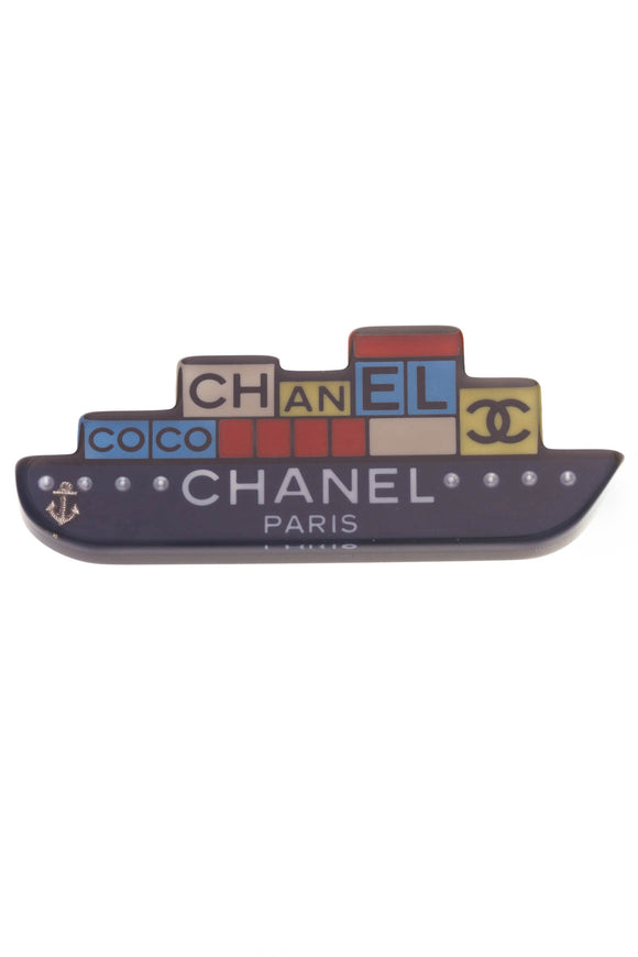 Chanel Coco CC Boat Brooch Blue Red Gold