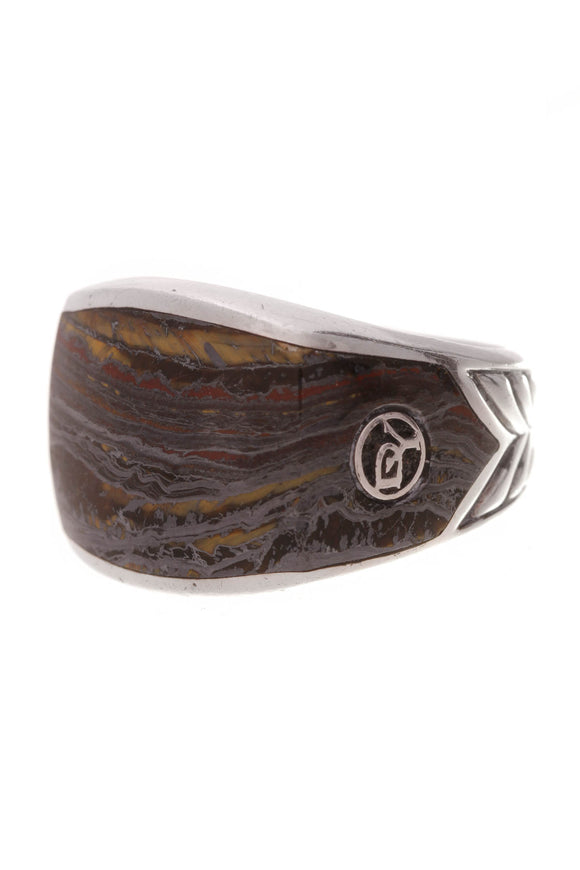 David Yurman Three Sided Tiger Iron Chevron Men's Ring Silver Size 9.5