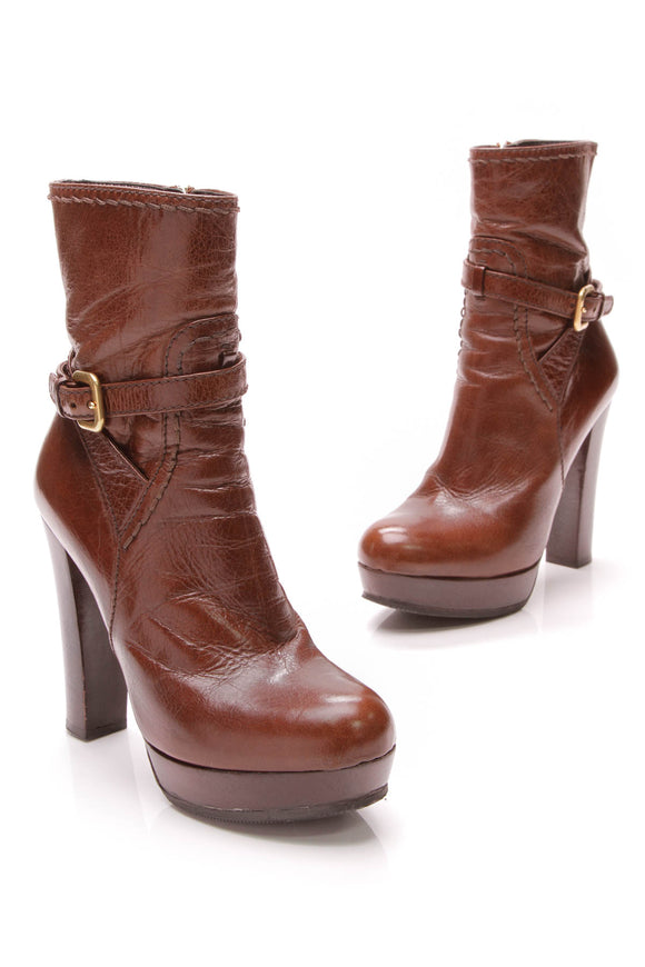 Prada Platform Ankle Boots Brown Leather Size 36