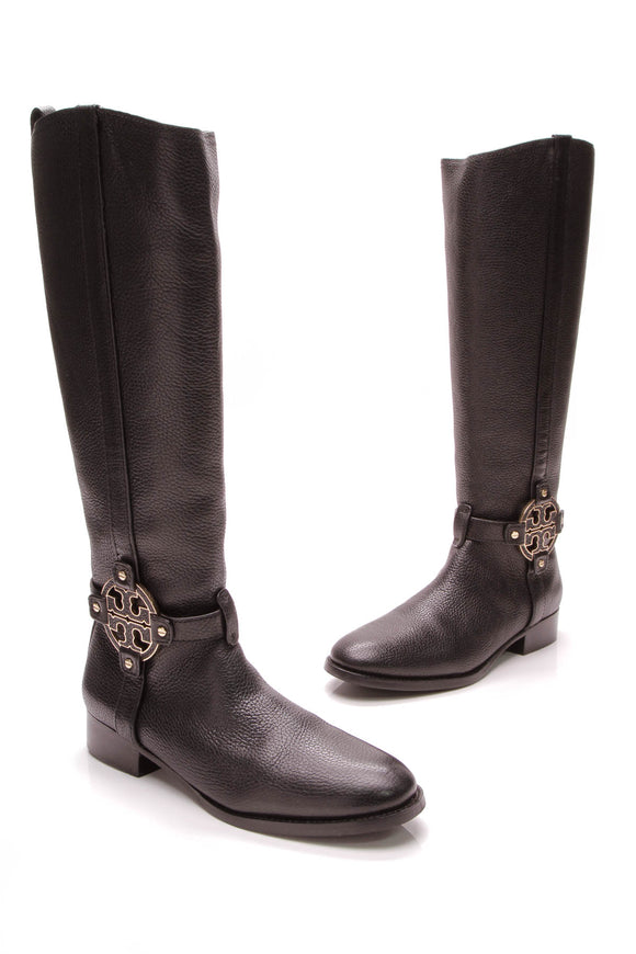 Tory Burch Amanda Riding Boots Black Size 9.5