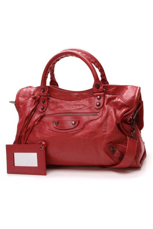 Balenciaga Motorcycle City Bag Coquelicot Lambskin Red