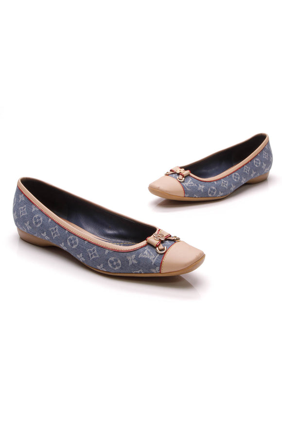 Louis Vuitton Cap-Toe Ballet Flats Blue Monogram Denim Size 36