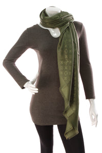 Louis Vuitton Monogram Shawl Scarf Khaki Green