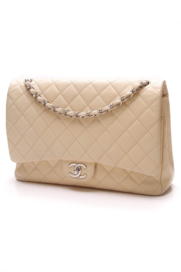 Chanel Classic Double Flap Bag Maxi Beige Caviar