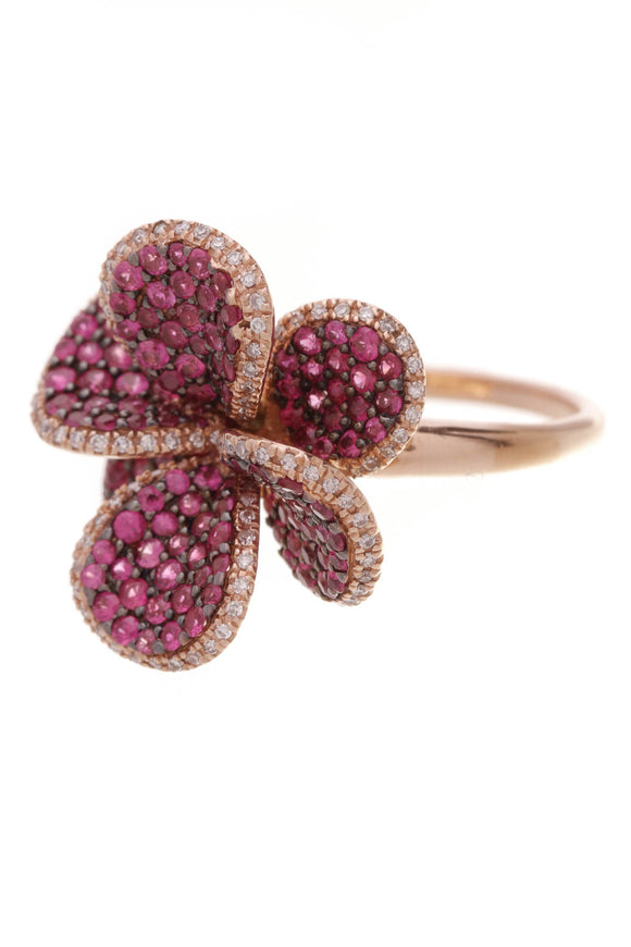 Pave Pink Sapphire & Diamond Flower Ring Rose Gold Size 7