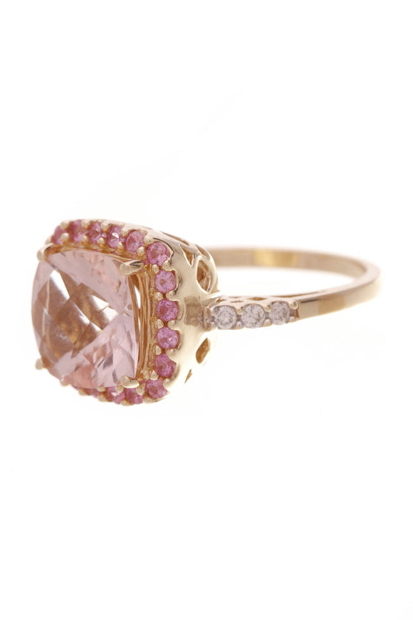 Morganite & Pink Sapphire Estate Ring Yellow Gold Size 7.5