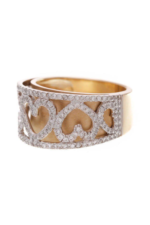 Pave Diamond Heart Band Ring Yellow Gold Size 6.5