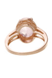 Synthetic Pink Sapphire & Diamond Estate Ring Yellow Gold Size 7