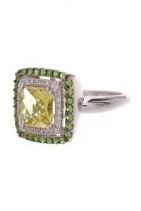 Peridot Double Halo Ring White Gold Size 7 Green