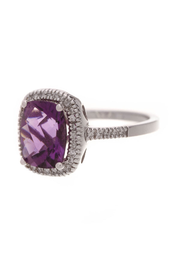 Amethyst & Diamond Estate Ring White Gold Size 7