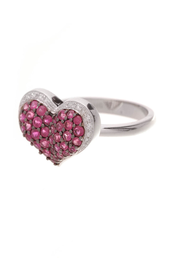 Pave Pink Sapphire & Diamond Heart Ring White Gold Size 7