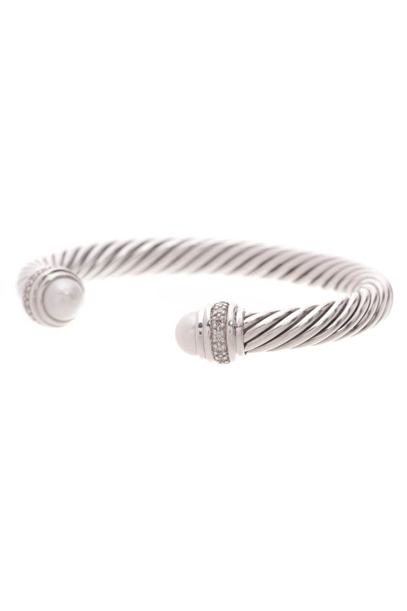 David Yurman Pearl Diamond 7mm Cable Bracelet Silver