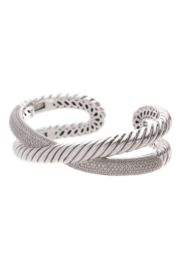 David Yurman Pave Diamond Crossover Cuff Bracelet Silver