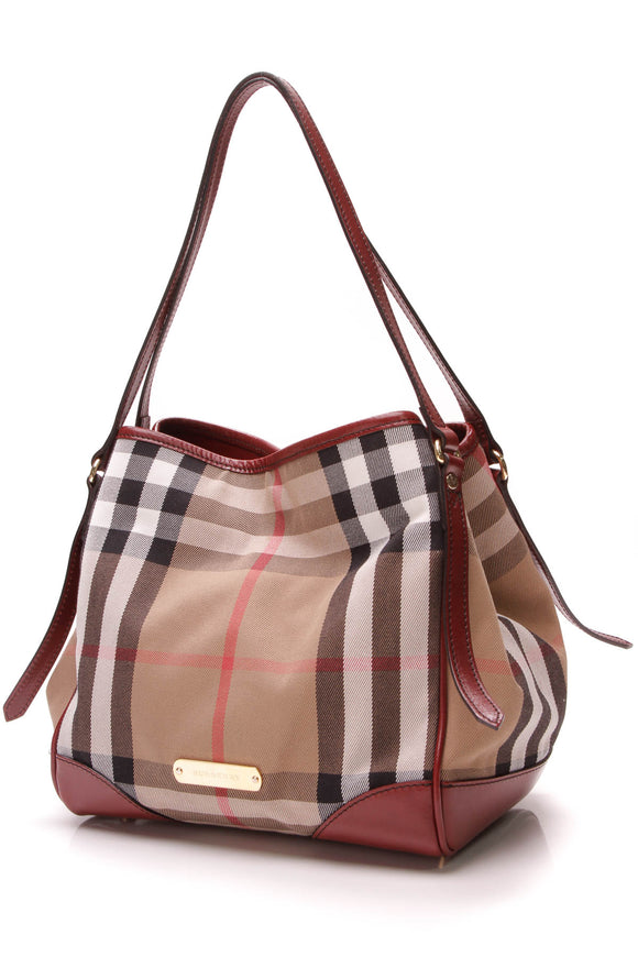 Burberry Canterbury Tote Bag Bridle House Check Beige Red