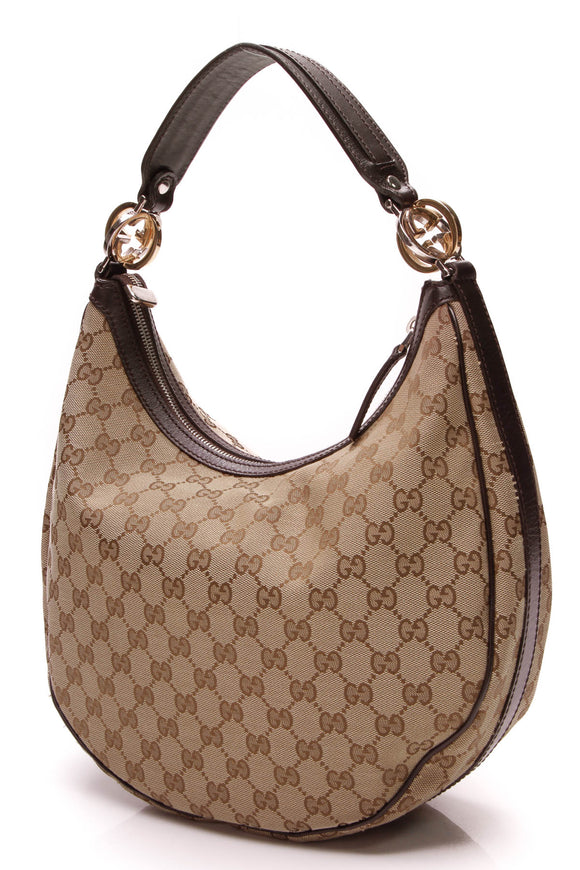 Gucci Twins Medium Hobo Bag Signature Canvas Brown