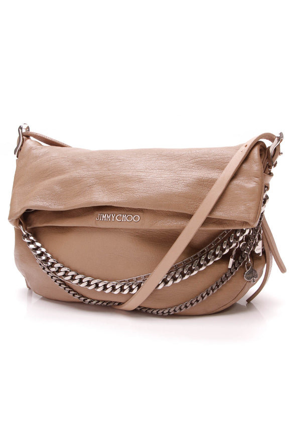 Jimmy Choo Small Biker Crossbody Bag Taupe Leather