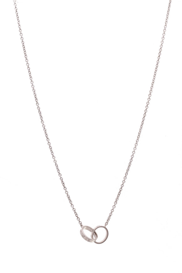 Cartier Interlocking Love Pendant Necklace White Gold