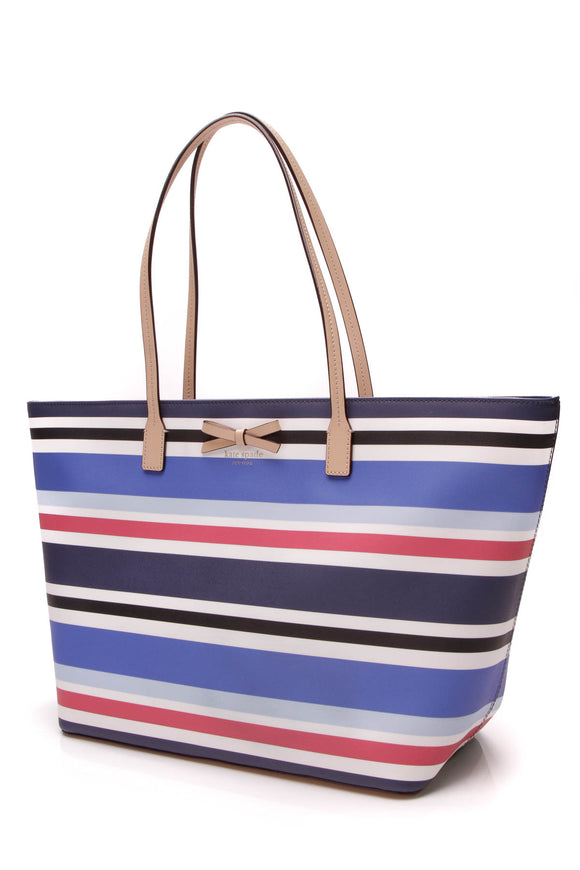 Kate Spade Eden Street Margareta Tote Bag Striped Blue Red