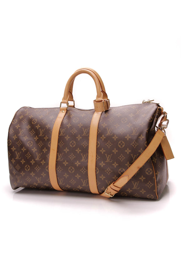 Louis Vuitton Keepall 50 Bandouliere Travel Bag Monogram Canvas Brown