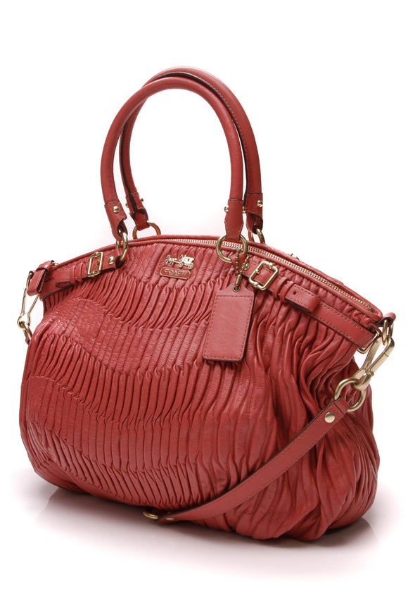 Coach Gathered Lindsey Satchel Bag Coral