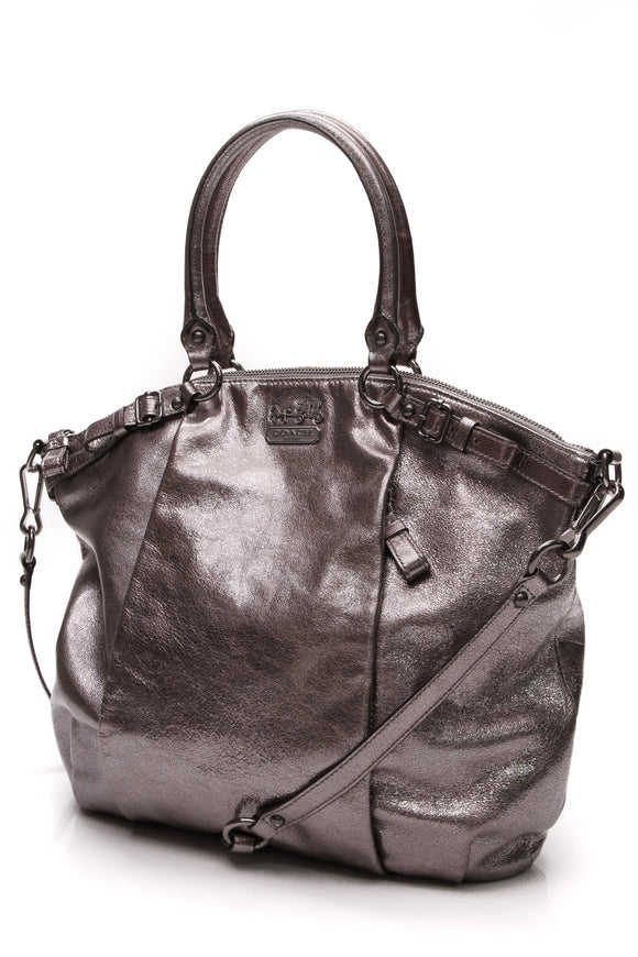 Coach Lindsey Satchel Bag Metallic Silver