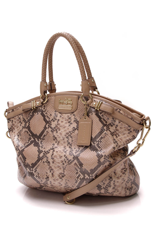 Coach Lindsey Satchel Bag Embossed Leather Tan
