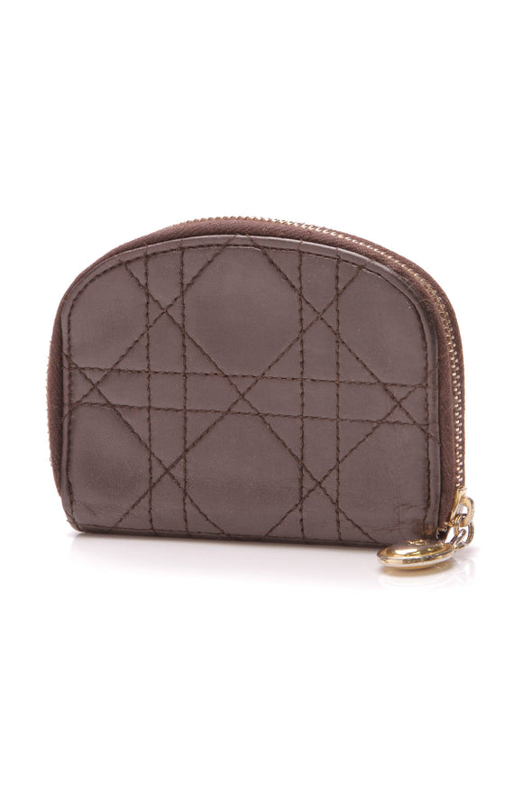 Christian Dior Cannage 6 Key Holder Brown Lambskin