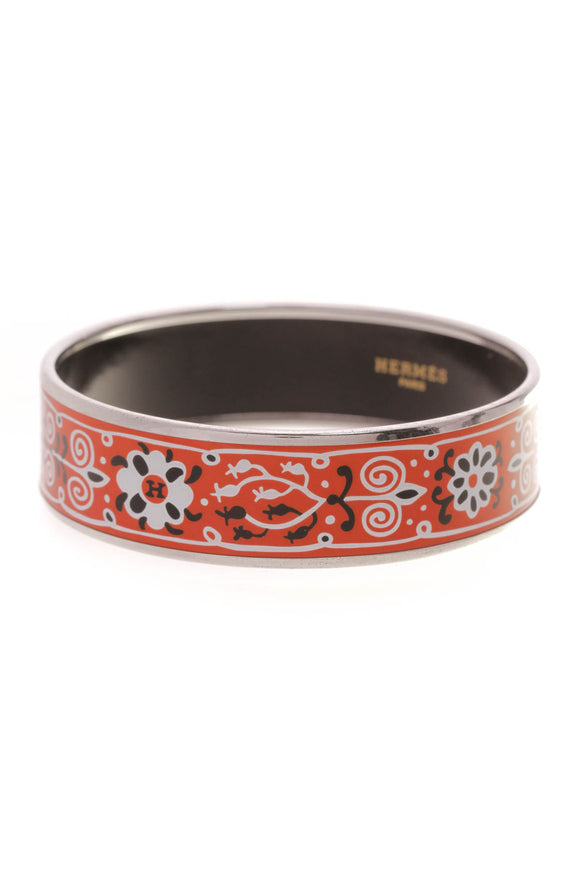 Hermes Fleur de Lis Wide Bangle Bracelet Red Enamel
