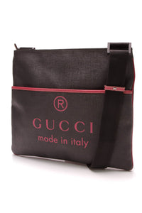 Gucci Logo Messenger Bag Black Coated Canvas