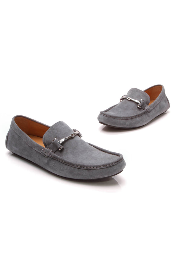 Gucci Baffin Driving Loafers Gray Suede Size 8