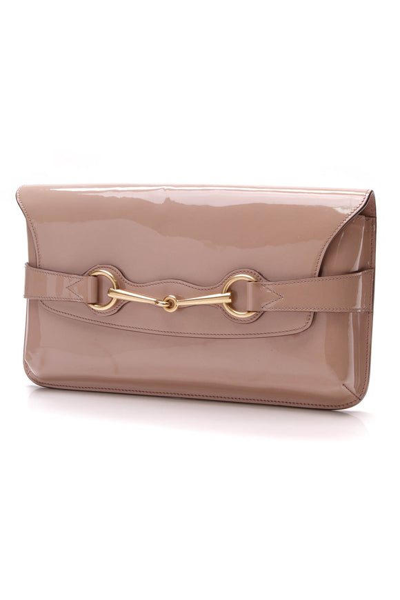 Gucci Bright Bit Clutch Bag Nude Patent Leather