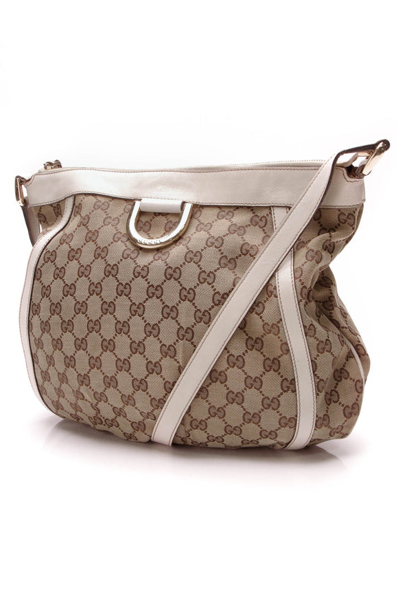 Gucci D-Ring Messenger Bag Signature Canvas Beige
