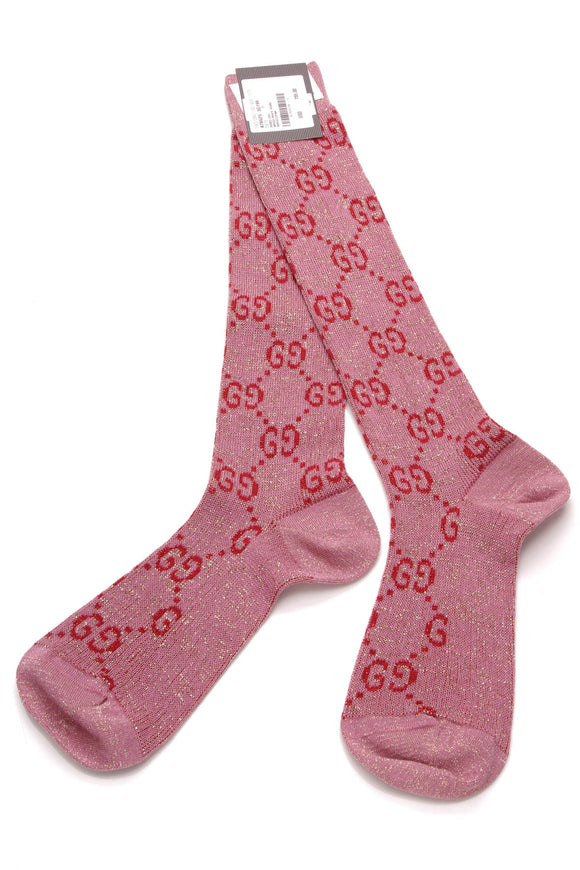 Gucci Lurex Interlocking G Socks Pink Size 9