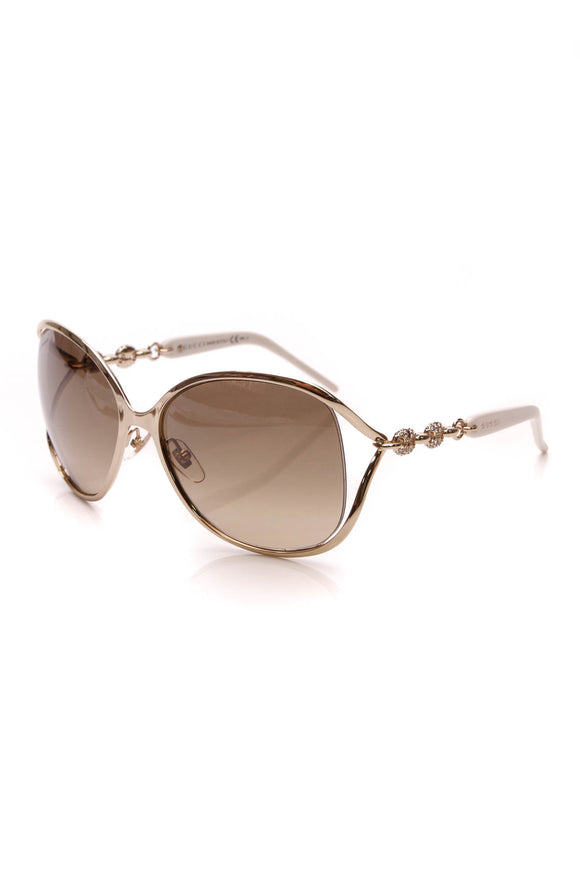 Gucci Marina Chain Crystal Sunglasses 4250 Gold