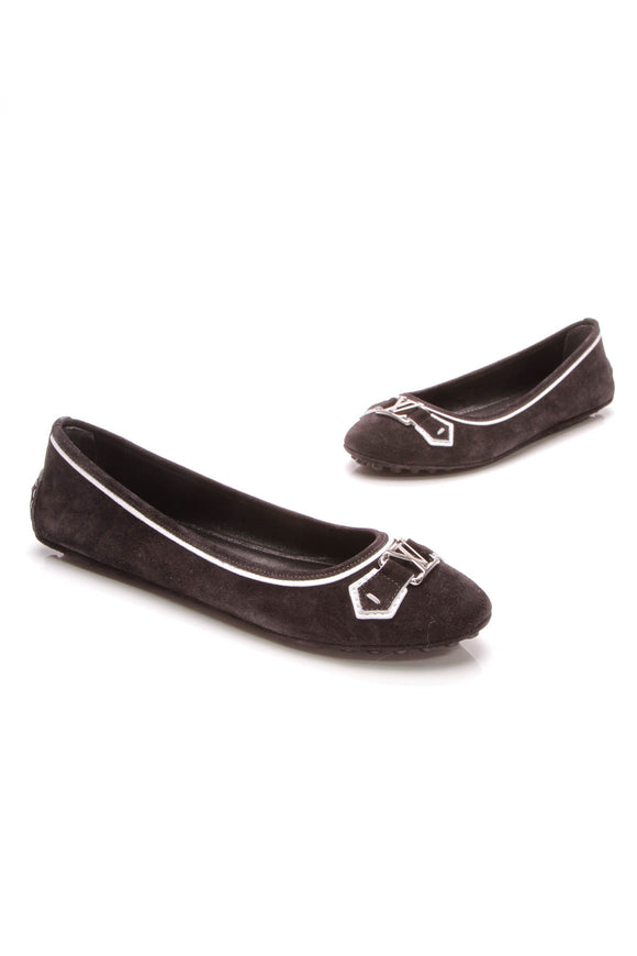 Louis Vuitton Oxford Ballerina Flats Black Suede Size 41