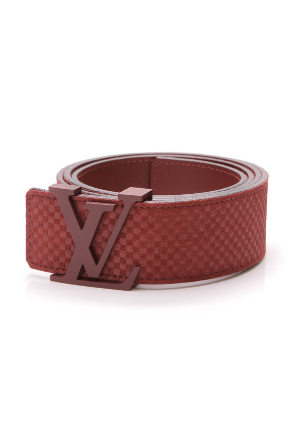 Louis Vuitton Mini Damier LV Initiales Belt Red Suede Calfskin Size 39