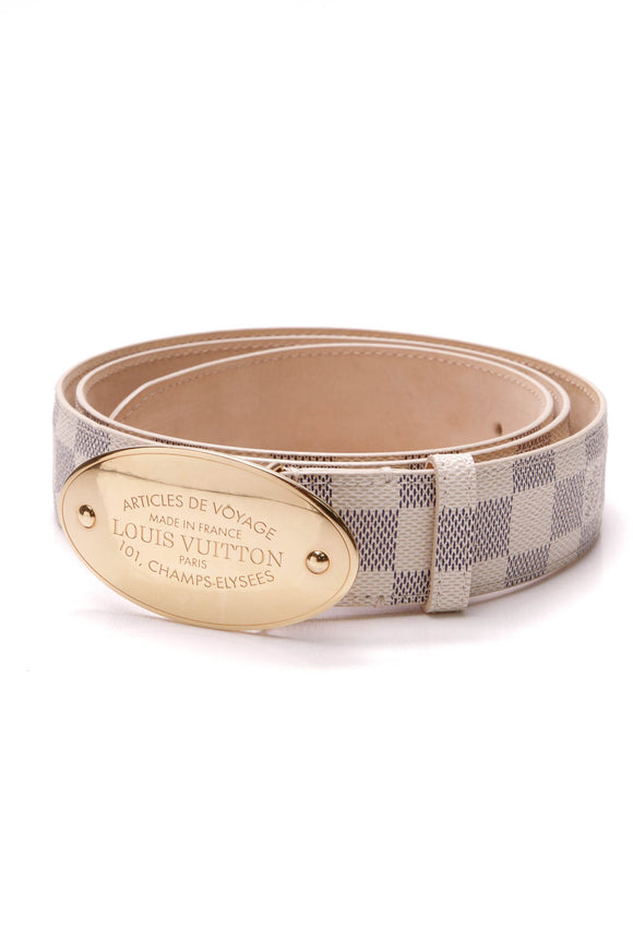 Louis Vuitton Voyage Belt Damier Azur Size 40
