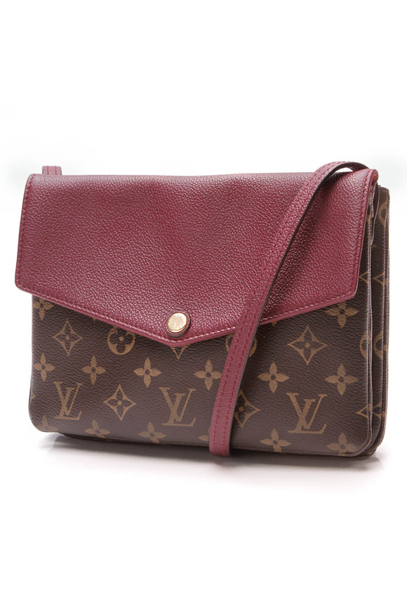 Louis Vuitton Twice Crossbody Bag Aurore Leather Monogram Pink Brown