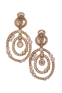 Oscar de la Renta Rhinestone Clip-On Earrings Gold