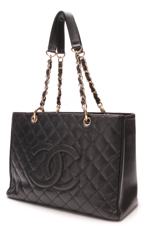 Chanel GST Grand Shopping Tote Bag Black Caviar Leather