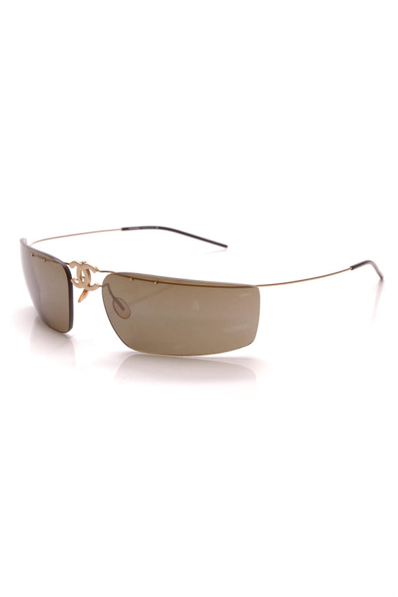 Chanel Fold-Up Rimless Sunglasses 4032 Brown