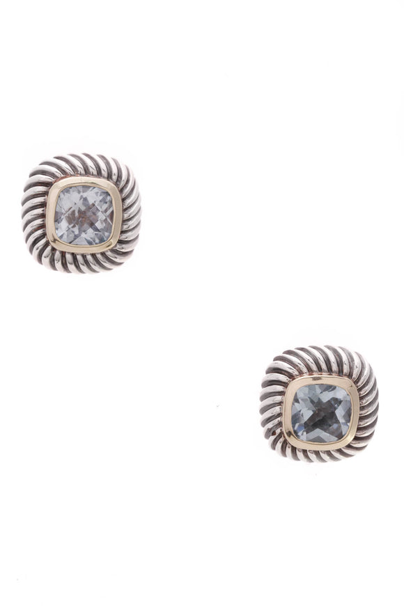 David Yurman Blue Topaz Petite Albion Earrings Silver Gold