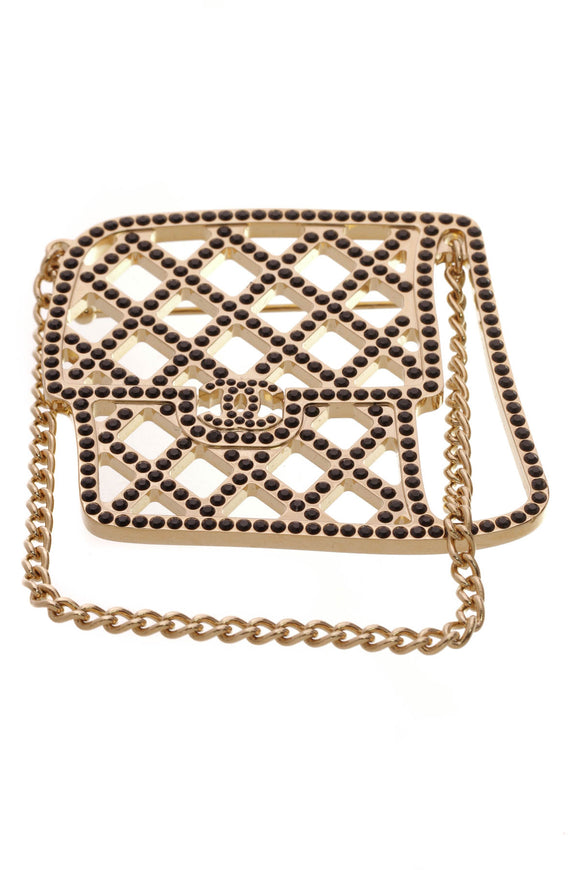 Chanel Crystal Flap Bag Brooch Black Gold