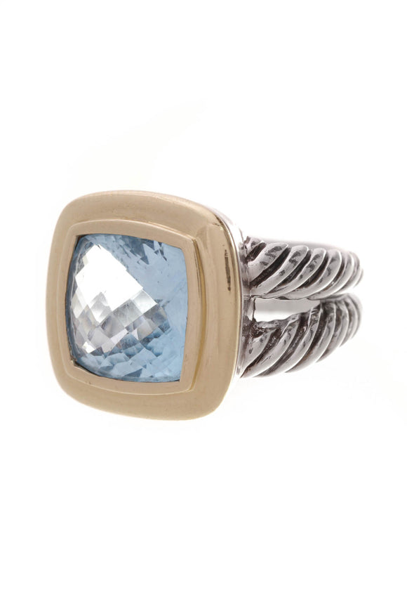 David Yurman Blue Topaz 11mm Albion Ring Silver Gold Size 5.5